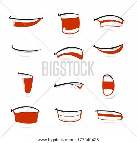 Set of cartoon vector mouth over white background - vector illustration