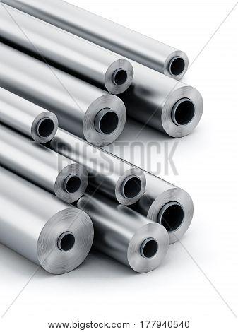 Aluminum tubes isolated on white background. 3D illustration.