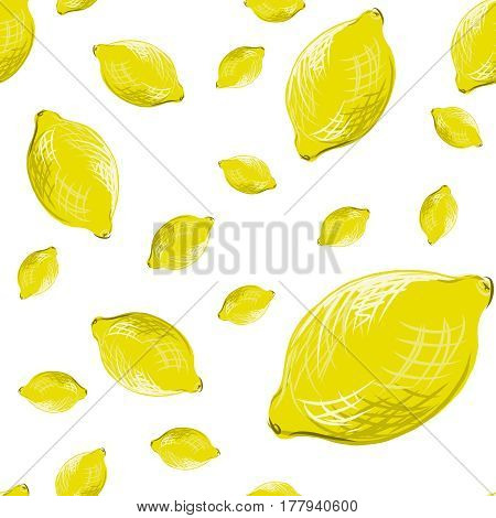Seamless pattern with lemon for textile and print. Summer colorful tropical textile print.
