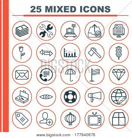 Set Of 25 Universal Editable Icons. Can Be Used For Web, Mobile And App Design. Includes Elements Such As Suitcase Checking, Love Flower, Baggage And More.