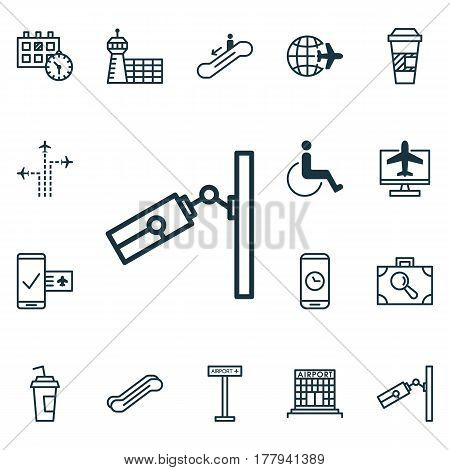 Set Of 16 Transportation Icons. Includes Video Surveillance, Airport Building, Appointment And Other Symbols. Beautiful Design Elements.
