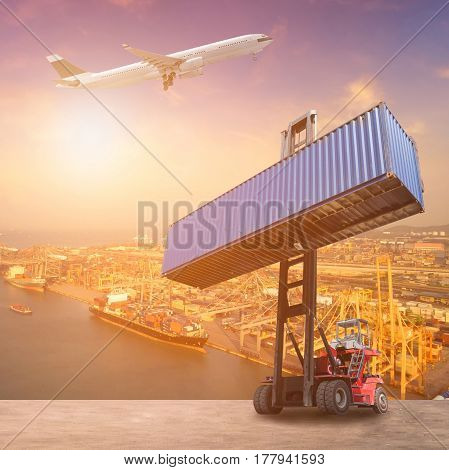Logistics And Transportation Of Container Cargo Ship, Cargo Plane And Forklift Truck Work In Shippin