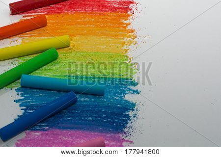 Rainbow from wax crayons. children's creativity. Rainbow line.Colorful chalk. copy space concept for text, word, message.