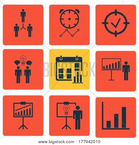 Set Of 9 Board Icons. Includes Report Demonstration, Reminder, Co-Working And Other Symbols. Beautiful Design Elements.