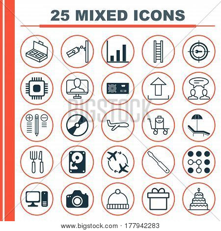 Set Of 25 Universal Editable Icons. Can Be Used For Web, Mobile And App Design. Includes Elements Such As Computing Problems, Hdd, Dialogue And More.
