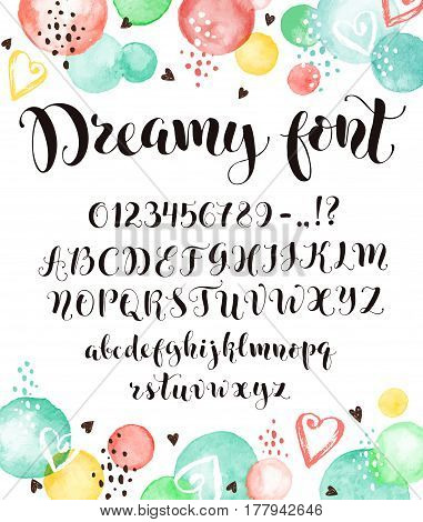 Cute calligraphy letters. Handwritten alphabet with watercolor spots on background. Uppercase lowercase letters numbers and symbols. Hand drawn modern script.