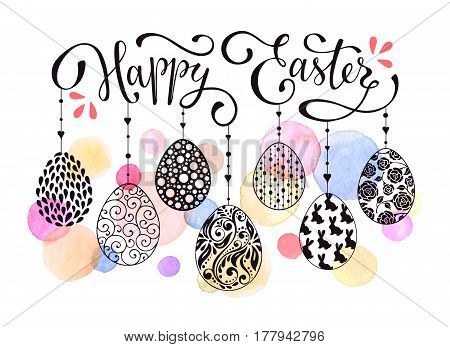 Happy Easter eggs composition hand drawn black on white background. Decorative horizontal stripe from eggs and watercolor dots. Easter design for greeting cards headers and posters.