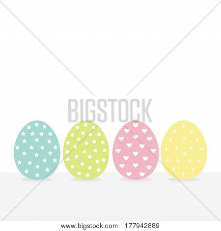 Colorful painting Easter egg set. Row of painted eggs shell. Heart star dot shape pattern. Light color. White background. Isolated. Flat design. Vector illustration