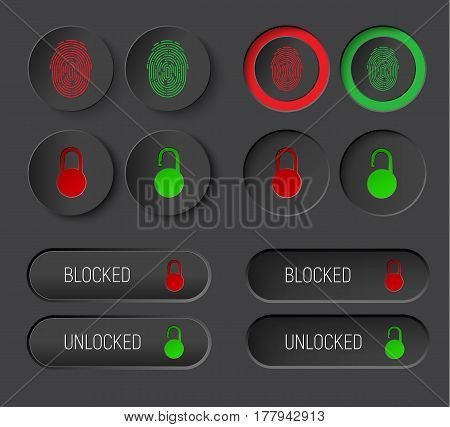 Design Dark  Of Round Buttons And Rectangular Rounded Corners.