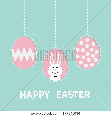 Three painting egg shell. Rabbit hare with tie bow. Happy Easter text. Hanging painted egg set. Dash line. Greeting card. Flat design style. Cute decoration element. Vector illustration