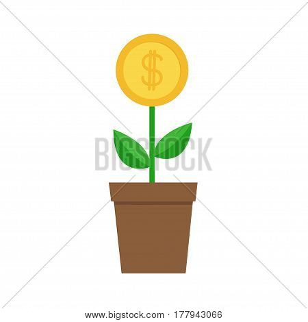 Growing money tree big coin with dollar sign Plant in the pot. Financial growth concept. Successful business icon. Flat design. White background. Isolated. Vector illustration