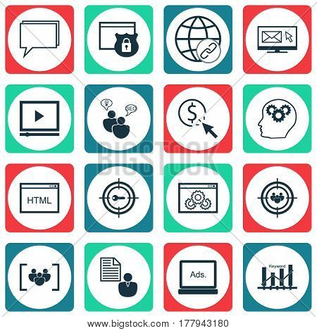 Set Of 16 Advertising Icons. Includes Coding, Report, Focus Group And Other Symbols. Beautiful Design Elements.