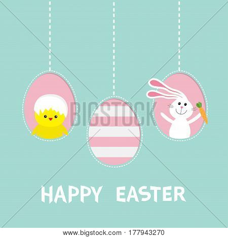 Happy Easter text. Three painting egg shell. Hanging painted egg set. Rabbit hare with carrot chicken bird. Dash line. Greeting card. Flat design style. Cute decoration element. Vector illustration