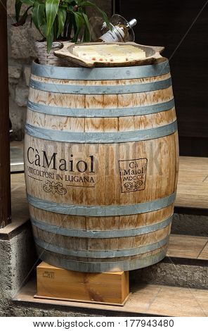 SIRMIONE ITALY - MAY 5 2016: Classic wood barrel in the old town of Sirmione. Garda Lake Italy