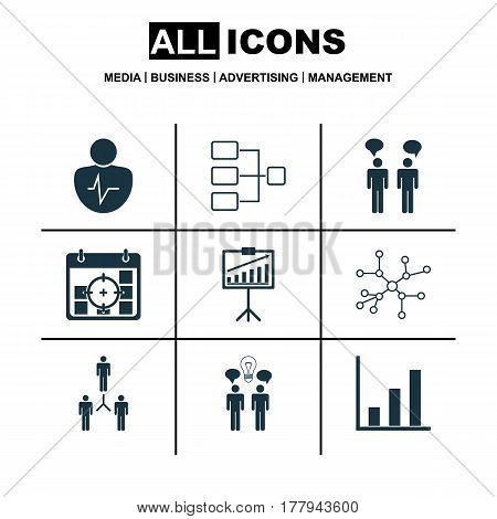 Set Of 9 Executive Icons. Includes Conversation, Report Demonstration, Co-Working And Other Symbols. Beautiful Design Elements.