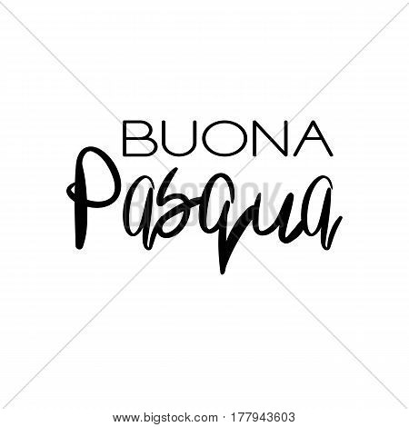 Decorative handdrawn lettering. Modern ink calligraphy. Happy Easter in italian. Handwritten black phrase isolated on white background. Vector element for greeting card and decor