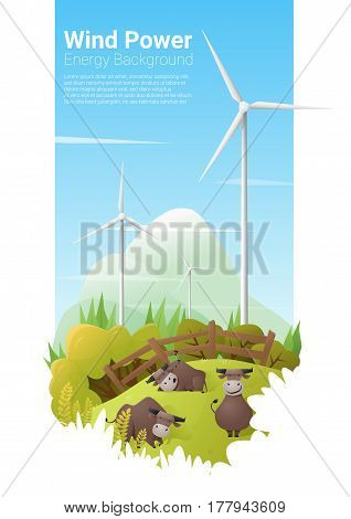 Energy concept background with wind turbine , vector , illustration