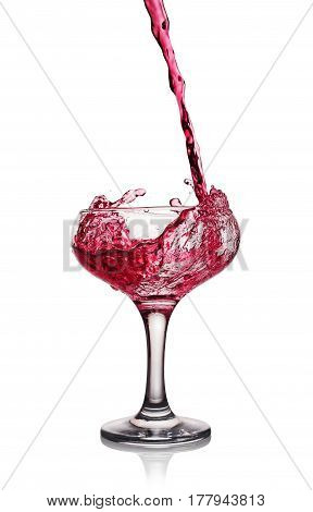 Splash In Glass Of A Pink Alcoholic Cocktail Drink