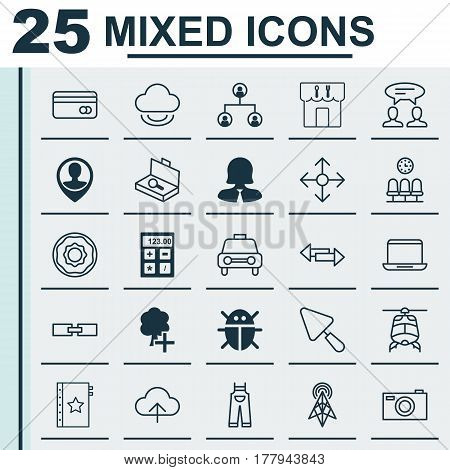 Set Of 25 Universal Editable Icons. Can Be Used For Web, Mobile And App Design. Includes Elements Such As Electronic Tool, Warranty, Notebook And More.