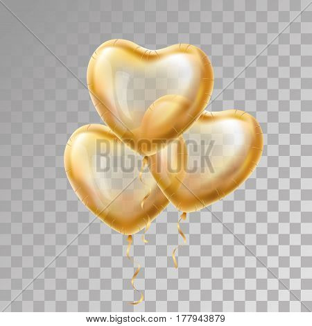 Heart Gold balloon on transparent background. Frosted party balloons event design. Balloons isolated in the air. Party decorations for wedding, birthday, celebration, love, valentines. Shine transparent balloon