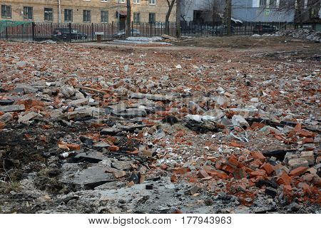 The dumping of construction waste in city