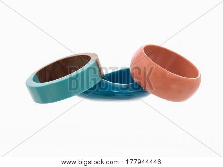 Female plastic bracelet on white background
