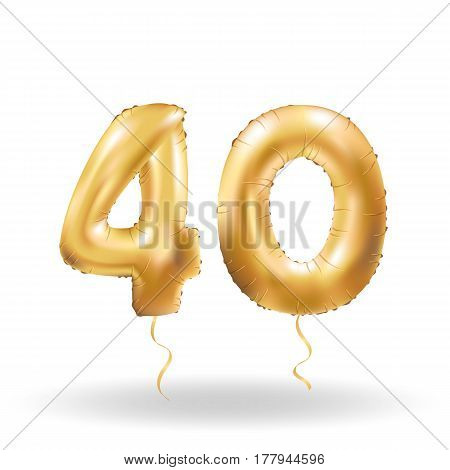 Golden number forty metallic balloon. Party decoration golden balloons. Anniversary sign for happy holiday, celebration, birthday, carnival, new year. Metallic design balloon.