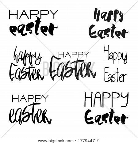 Set of 7 Decorative handdrawn lettering. Modern ink calligraphy. Happy Easter handwritten black phrases isolated on white background. Vector elements for greeting card and decor