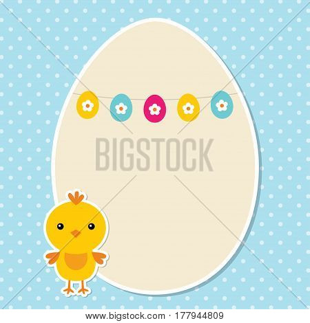 Easter card with a chick and an egg frame, space for text