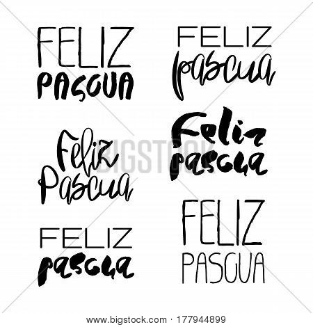 Set of 6 decorative handdrawn lettering. Modern ink calligraphy. Happy Easter in spanish. Handwritten black phrases isolated on white background. Vector elements for greeting card and decor