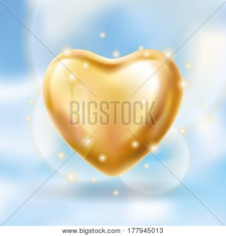Heart Gold balloon on blue background. party balloons event design. Balloons isolated in the air. Party decorations wedding, birthday, celebration, love, valentines. Shine transparent balloon