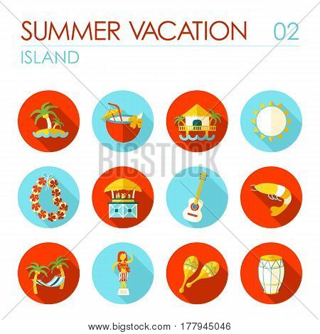 Island beach vector flat icon set. Summer time. Vacation eps 10