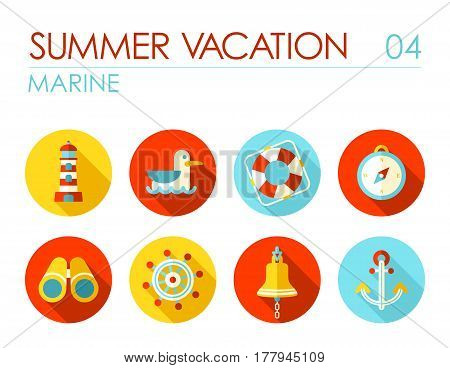Marine flat icon vector set. Travel illustration