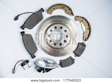 New auto parts on a white background