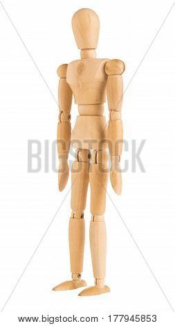 demonstration of wood manikin in standing pose on white background.