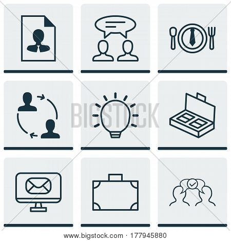 Set Of 9 Business Management Icons. Includes Cv, Dinner, Cooperation And Other Symbols. Beautiful Design Elements.