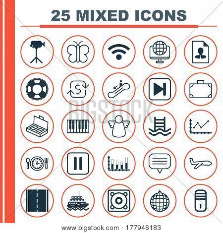 Set Of 25 Universal Editable Icons. Can Be Used For Web, Mobile And App Design. Includes Elements Such As Music, Lifebuoy, Cv And More.