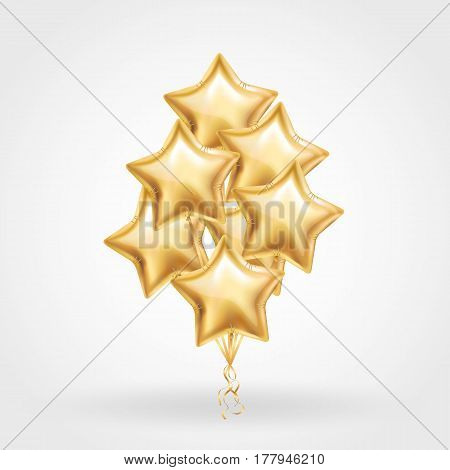 Gold Star balloon on background. Frosted party balloons event design. Balloons isolated in the air. Party decorations for wedding, birthday, celebration, love, valentines. Shine transparent balloon
