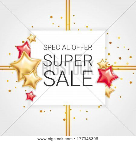 Gold red star background, banners. Golden banner. Gold banner with text. Super Sale logo, web, card, vip exclusive certificate, gift luxury, voucher. Store shopping sale. Special offer header