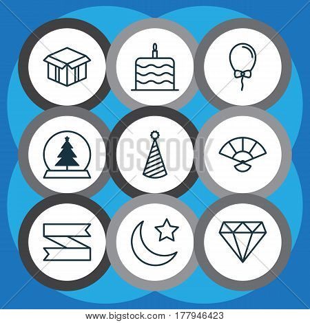 Set Of 9 Christmas Icons. Includes Balloon, Magic Sphere, Open Cardboard And Other Symbols. Beautiful Design Elements.