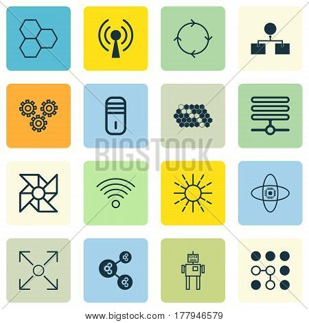 Set Of 16 Robotics Icons. Includes Mechanism Parts, Mainframe, Information Components And Other Symbols. Beautiful Design Elements.