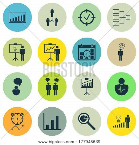 Set Of 16 Authority Icons. Includes Special Demonstration, Team Meeting, System Structure And Other Symbols. Beautiful Design Elements.