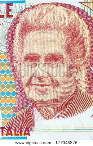 Maria Montessori portrait from Italian money - lire