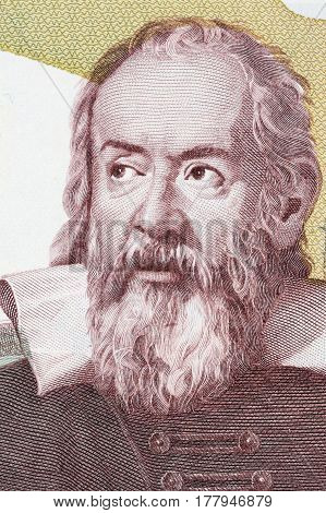 Galileo Galilei portrait from Italian money - lire