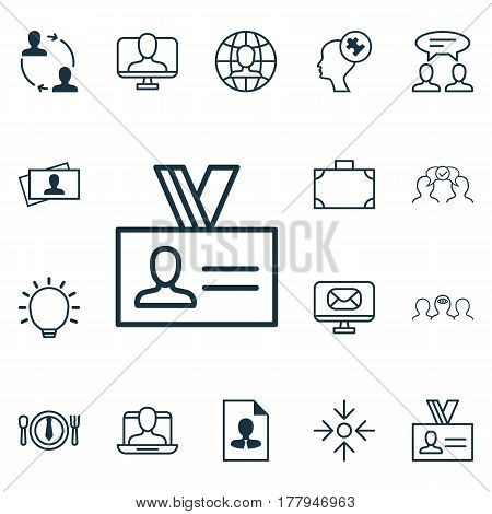 Set Of 16 Business Management Icons. Includes Authentication, Great Glimpse, Online Identity And Other Symbols. Beautiful Design Elements.
