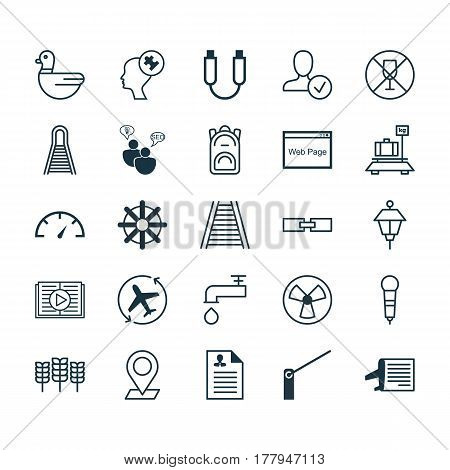Set Of 25 Universal Editable Icons. Can Be Used For Web, Mobile And App Design. Includes Elements Such As Pinpoint, Roadblock, Confirm Profile And More.