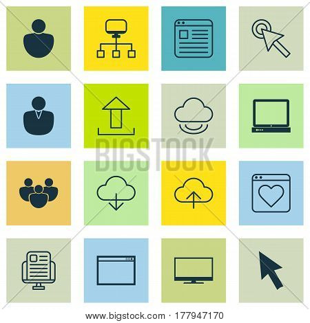 Set Of 16 Internet Icons. Includes Website Page, Account, PC And Other Symbols. Beautiful Design Elements.