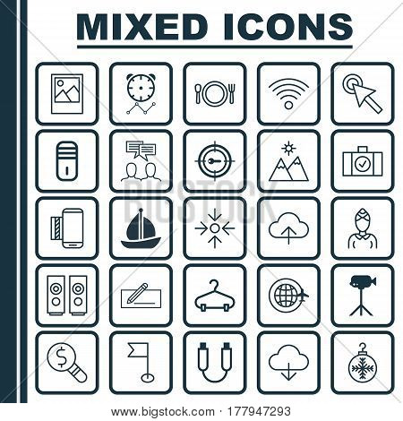 Set Of 25 Universal Editable Icons. Can Be Used For Web, Mobile And App Design. Includes Elements Such As Portable Memory, Wireless Communications, Cursor Tap And More.