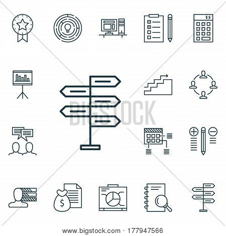 Set Of 16 Project Management Icons. Includes Reminder, Analysis, Opportunity And Other Symbols. Beautiful Design Elements.