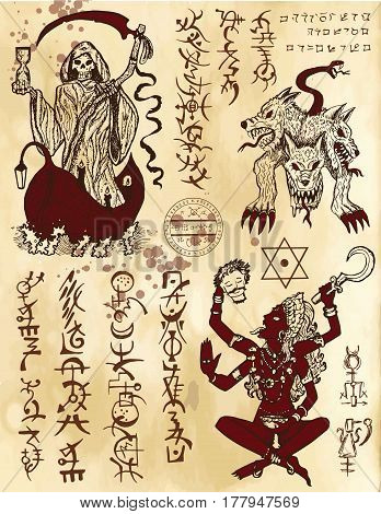 Graphic collection with death religious and mystic symbols. Hand drawn engraved vector illustration. There is no foreign text in the image, all symbols are imaginary and fantasy ones